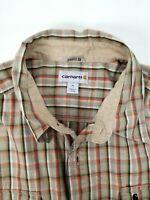 CARHARTT Men's Tan Plaid Short Sleeve Button Down Work Shirt Relaxed Fit Sz XXL