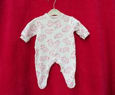 BABYGROW  WHITE WITH  PINK TEDDIES     SIZE NEW BABY 56cm