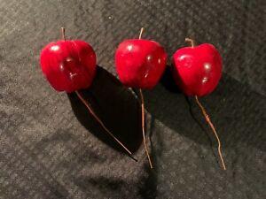 Vintage? Artificial Fake Plastic Apples Lot of 3 w/ Metal Skewers