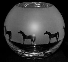 *ARAB GIFT*  15cm Boxed CRYSTAL GLASS GLOBE VASE with ARABIAN HORSE FRIEZE