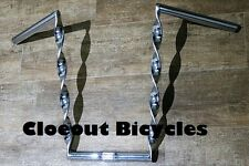 """Lowrider Chrome Flat Twisted Bicycle Handlebar 15"""" Cruiser Chopper Bike 25.4  mm"""