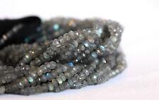 "Labradorite Beads Full Strand 13.5"" 3x4mm Faceted Rondelle Grey Gray USA SELLER"