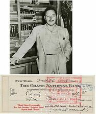 TENNESSEE WILLIAMS   EARLY HAND SIGNED CANCELLED BANK CHEQUE / CHECK  1945 RARE