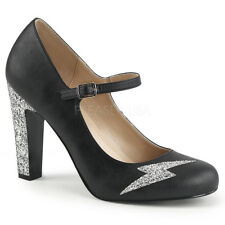Pleaser Pink Label Women's Mary Jane Pump With Silver Glitters Heel Queen-02 14 Black Faux Leather-silver Glitter