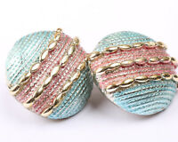 Large Blue, Pink and Gold Tone Clip on Earrings, Vintage 1970s