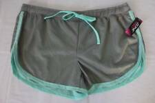 NEW Womens Shorts Plus Size 1X Athletic Gray Blue Mesh Workout Walking Run Gym