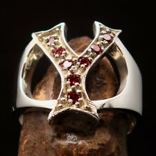 Excellent crafted Women's Sterling Silver Initial Ring Bold Letter Y - 8 red CZ