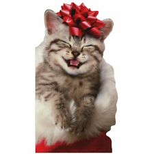 Avanti Press Happy Kitten With Red Bow Cat Christmas Card