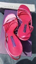 Ralph Lauren Collection Heels Anne Fushia Satin size 8.5 B