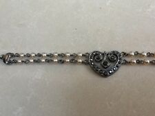 M&S Pretty Pearl &Marcasite Pewter Colour Double chain Heart Wrist Bracelet BNWT