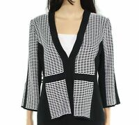 Ming Wang Womens Jackets Black Size Medium M Tailored-Fit Knit Contrast $198 747