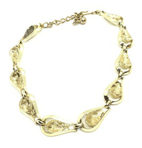 """Signed Coro Gold Tone early Scalloped 14"""" Choker Necklace"""