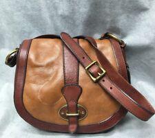Fossil Vintage Reissue Tan & Brown Leather Saddle Bag