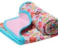 NWT Zutano Infant Girl Striped Floral Reversible Crib 100% Cotton Blanket