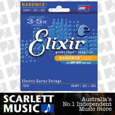 Elixir 12152 Coated Nanoweb Heavy Gauge Electric Guitar Strings 12 - 52