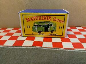 Matchbox Lesney No34 Volkswagen Camper Green EMPY Repro Box Only  NO CAR