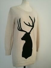 TOPSHOP PETITE Buck Deer beige Jumper Tunic Mini Dress Angora Blend UK 6