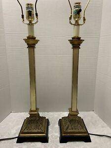 "Pr Uttermost LAMPS Empire Style 31""Column Acanthus Leaf Bases Distressed Columns"