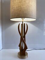 Vtg Modeline/Pearsall Style Mid Century Oak Sculptural Table Lamp W/ORIG Shade