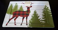 Cynthia Rowley Plaid Christmas Holiday Deer Country Melamine Serving Platter