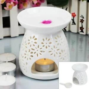 Ceramic White Oil Burner Melt Wax Warmer Diffuser Tealight Candle Holder Tray UK