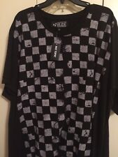 3XL T-SHIRT BLACK AND WHITE CHECKERBOARD STYLE FRONT (Rude) Freee Shipping