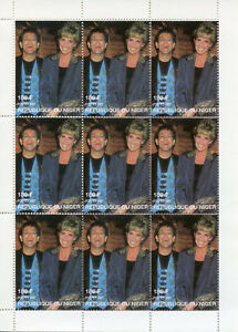 Niger 1997 MNH Princess Diana & Elton John 9v M/S Royalty Celebrities Stamps