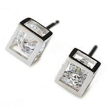 Silver Plated CZ Stone Fashion Hollow Square Cube Stud Earrings Double Side L3i7