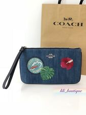 NWT New Coach F29372 Large Wristlet Wallet Denim Hawaii Patches Blue Multi $150