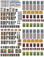 HO Scale Windows & Doors Model Train Scenery Sheets –5  8.5x11