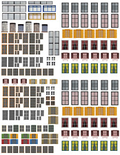 HO Scale Windows & Doors Model Train Scenery Sheets –5  8.5x11