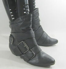 new shiekh blacks  flat  pointy  toe sexy ankle boot side buckles size  6   p