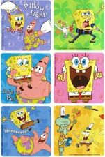6 x Square Stickers ~ Spongebob Patrick Excited Singing Pillow Fight Laughs ~