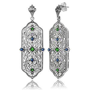 Sapphire & Emerald 925 Solid Sterling Silver Art Nouveau Earrings Jewelry VF1