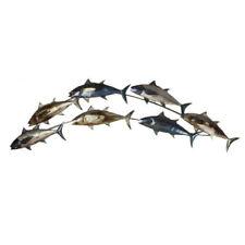 Contemporary FISH SHOAL Design Metal Wall Art Decor Picture (122cm) *NEW* Boxed