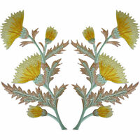 Pair of Yellow Thistle Flower Patches Iron Sew On Embroidery Patch Badge Flowers