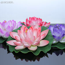 adca64f74ab8 5 pcs Artificial Fake Lotus Leaf Pond flowers Water Lily Floating Pood fish  tank