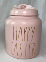 """Rae Dunn Ceramic """"HAPPY EASTER"""" Canister (PINK WITH GOLD LETTERS)  Brand New!"""