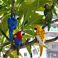 Life Size Blue Resin Parrot Sculpture Modern Garden Zoo Ornament Decoration