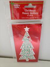 Christmas Money/Gift Card Holders, 6 Cards W/ Envelopes, Tree, New