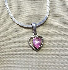 Pretty sterling silver heart necklace with pink stone