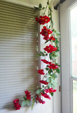 2 Artificial Red Flowers Vine Hanging Wedding Garland