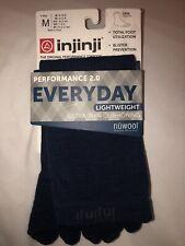 Injinji Everyday Lightweight NuWool Crew Toe Socks Medium M Unisex Navy Blue