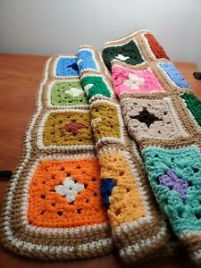 """Hand Made Crochet Granny Square Afghan Lap Blanket  38 x 22"""" brown multicolor"""