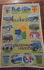 Vtg irish linen tea towel Ireland Pleasure Island famous landmarks Fingal