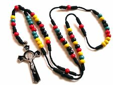 Rosary - color wood Prayer Beads - Crucifix Necklace  R111-14E53