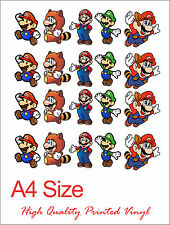 Mario Bros Character Sticker A4 Page Decoration Bumper iPhone Galaxy Nintendo