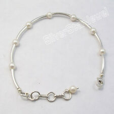 "925 Silver Tubes & Pipes FRESH WATER PEARL Beads UNUSUAL Bracelet 7.7"""
