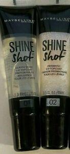 MAYBELLINE Shine Shot Lip Topcoat 01 Glassy Shine & 02 Prismatic *LOT OF 2*