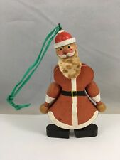 Vintage Wooden Santa Claus Figurine Hand Painted Christmas Ornament Made Austria